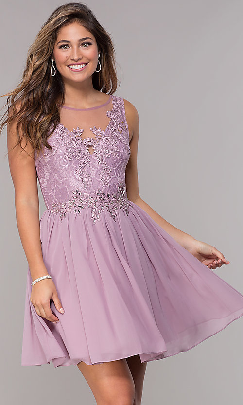 Image of lace-bodice short chiffon homecoming dress.  Style: LP-25830 Front Image