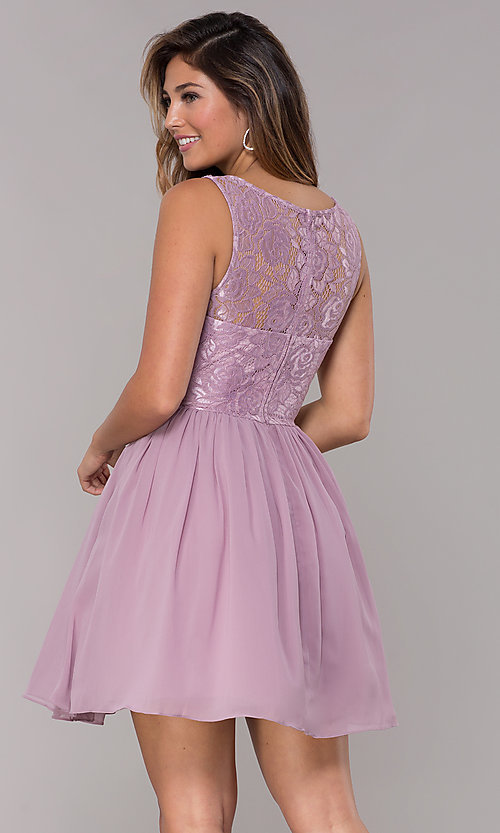 Image of lace-bodice short chiffon homecoming dress.  Style: LP-25830 Back Image