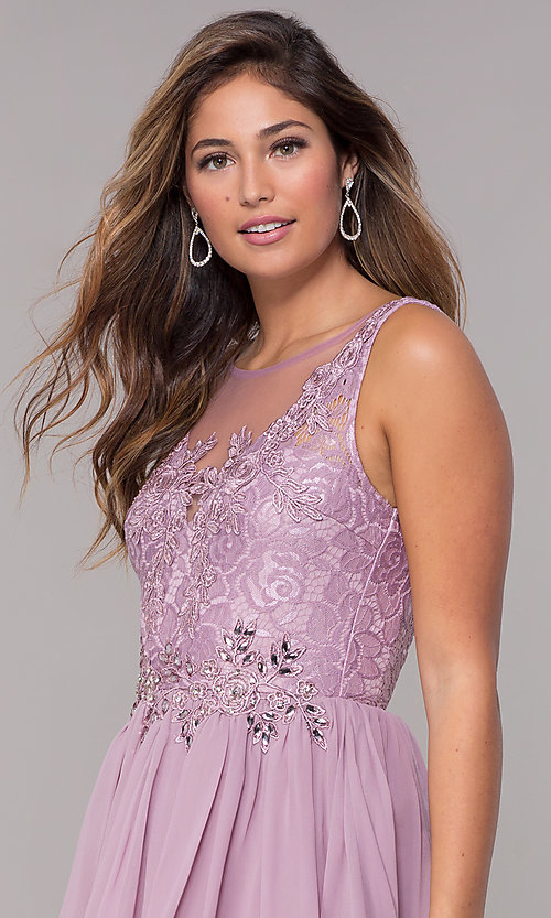 Image of lace-bodice short chiffon homecoming dress.  Style: LP-25830 Detail Image 1