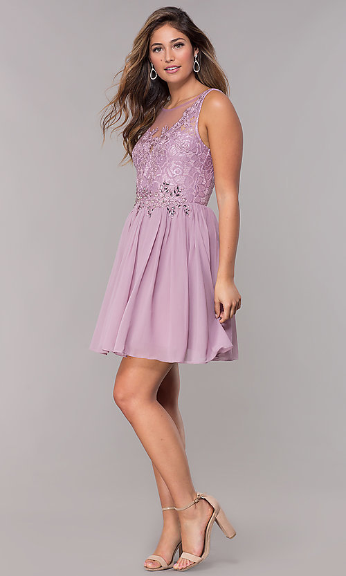 Image of lace-bodice short chiffon homecoming dress.  Style: LP-25830 Detail Image 2