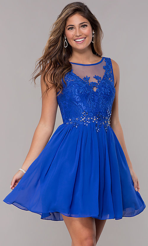 Image of lace-bodice short chiffon homecoming dress.  Style: LP-25830 Detail Image 3