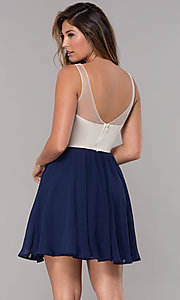 Image of sleeveless short homecoming dress with applique. Style: LP-27705 Back Image