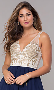 Image of sleeveless short homecoming dress with applique. Style: LP-27705 Detail Image 1