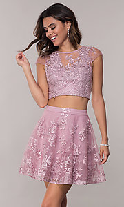Image of two-piece embroidered-mesh homecoming dress. Style: LP-90141 Front Image