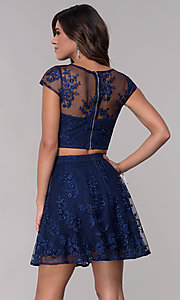 Image of two-piece embroidered-mesh homecoming dress. Style: LP-90141 Detail Image 2