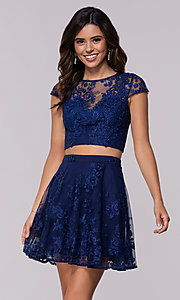 Image of two-piece embroidered-mesh homecoming dress. Style: LP-90141 Detail Image 1