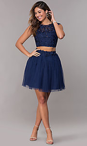 Image of short homecoming embroidered-top two-piece dress. Style: LP-90233 Detail Image 3