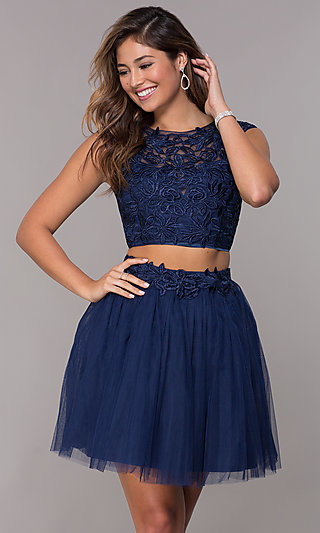 Short Homecoming Embroidered-Top Two-Piece Dress