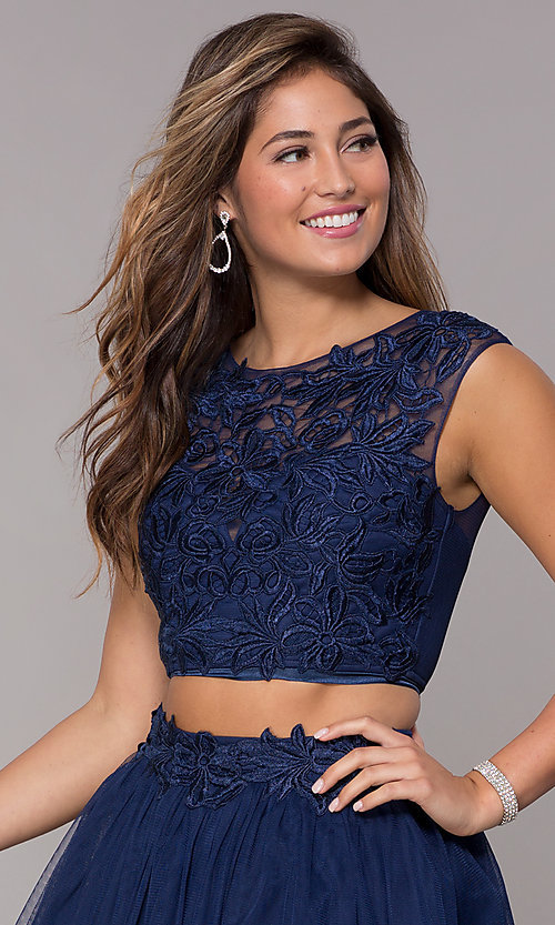 Image of short homecoming embroidered-top two-piece dress. Style: LP-90233 Detail Image 1