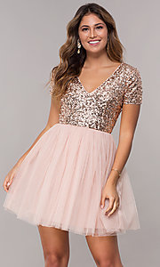 Image of short-sleeve sequin-bodice homecoming short dress. Style: LP-25001 Front Image