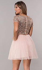Image of short-sleeve sequin-bodice homecoming short dress. Style: LP-25001 Back Image