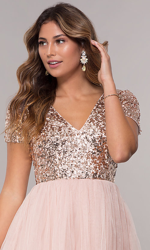 Image of short-sleeve sequin-bodice homecoming short dress. Style: LP-25001 Detail Image 1