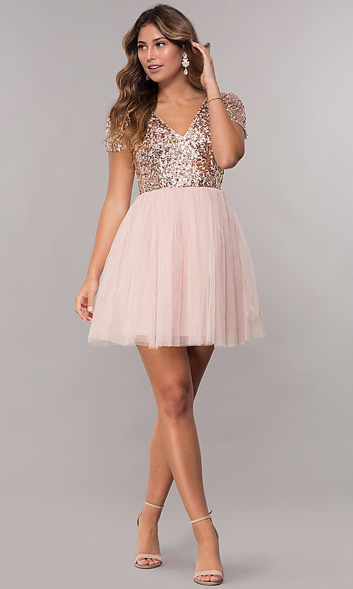 Image of short-sleeve sequin-bodice homecoming short dress. Style: LP-25001 Detail Image 3