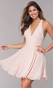 Image of short homecoming v-neck chiffon party dress. Style: LP-27639 Front Image