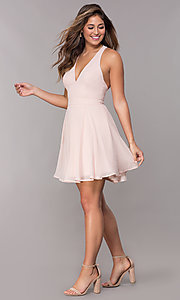Image of short homecoming v-neck chiffon party dress. Style: LP-27639 Detail Image 2