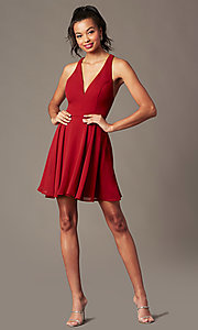 Image of short homecoming v-neck chiffon party dress. Style: LP-27639 Detail Image 3