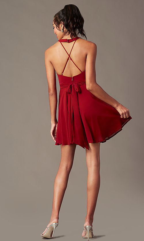 Image of short homecoming v-neck chiffon party dress. Style: LP-27639 Detail Image 4