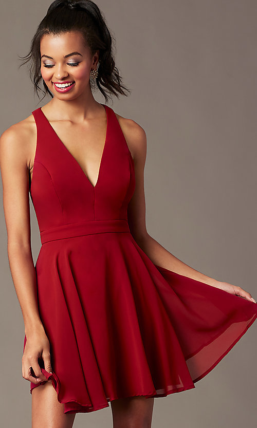 Image of short homecoming v-neck chiffon party dress. Style: LP-27639 Detail Image 5