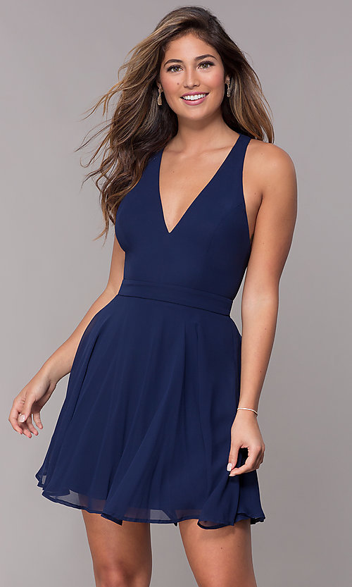 Image of short homecoming v-neck chiffon party dress. Style: LP-27639 Detail Image 7