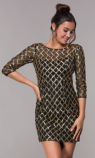 Black Sequin Short Homecoming Dress with Sleeves