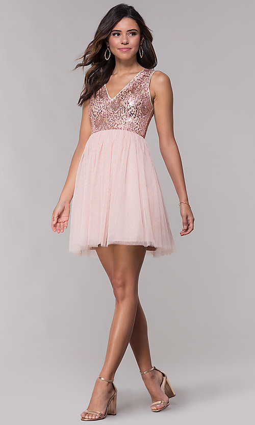 Image of sequin-bodice v-neck short tulle homecoming dress. Style: LP-27411 Detail Image 3