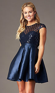 Image of short sequin-bodice satin homecoming dress. Style: LP-24748 Detail Image 1
