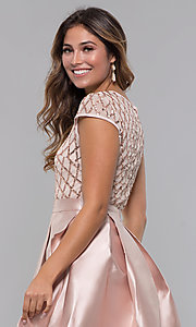 Image of short sequin-bodice satin homecoming dress. Style: LP-24748 Detail Image 7