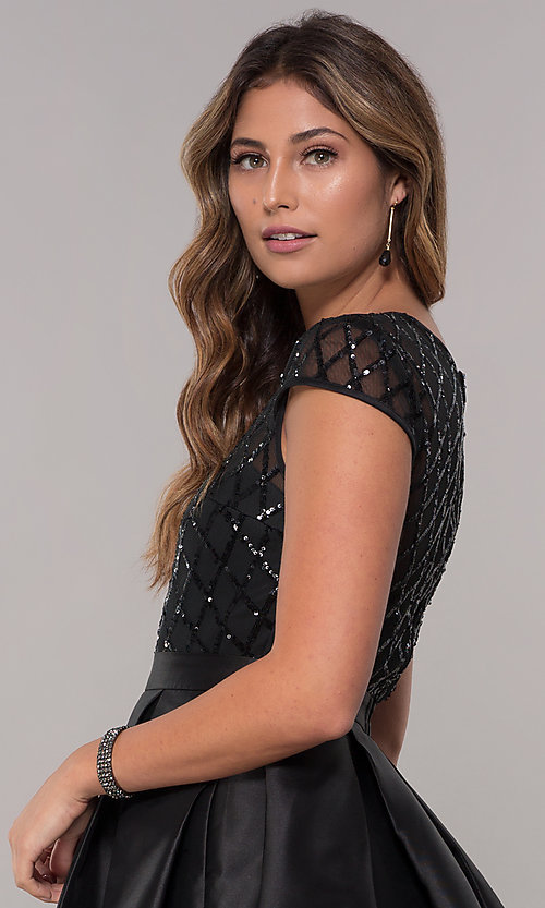 Image of short sequin-bodice satin homecoming dress. Style: LP-24748 Detail Image 2