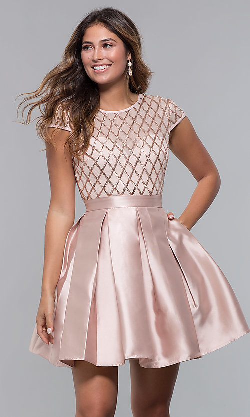 Image of short sequin-bodice satin homecoming dress. Style: LP-24748 Detail Image 4