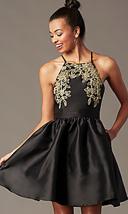 Image of short a-line homecoming dress with side pockets. Style: LP-25524 Detail Image 6
