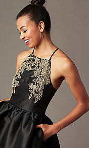 Image of short a-line homecoming dress with side pockets. Style: LP-25524 Detail Image 7