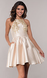 Image of short a-line homecoming dress with side pockets. Style: LP-25524 Front Image