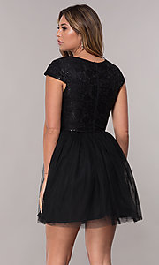 Image of short-sleeve lace-bodice homecoming short dress. Style: LP-25810 Back Image