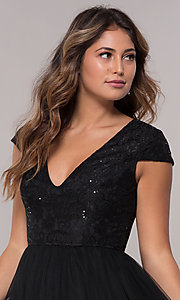 Image of short-sleeve lace-bodice homecoming short dress. Style: LP-25810 Detail Image 1
