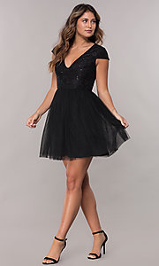 Image of short-sleeve lace-bodice homecoming short dress. Style: LP-25810 Detail Image 2