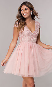 Image of short-sleeve lace-bodice homecoming short dress. Style: LP-25810 Detail Image 3