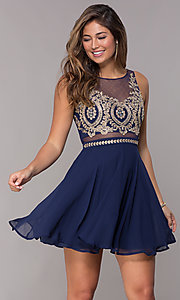 Image of short chiffon homecoming embroidered-bodice dress. Style: LP-27784 Front Image