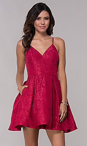 Image of v-neck a-line homecoming dress with pockets. Style: LP-25870 Detail Image 2