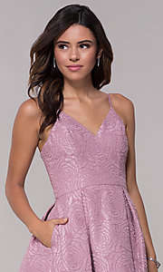 Image of v-neck a-line homecoming dress with pockets. Style: LP-25870 Detail Image 1