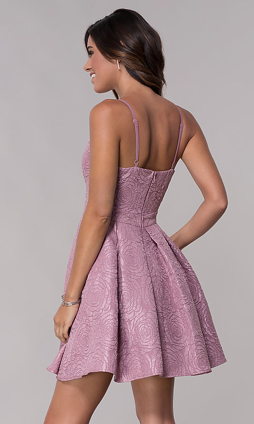 Image of v-neck a-line homecoming dress with pockets. Style: LP-25870 Back Image