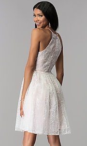 Image of organza embroidered short homecoming dress. Style: LP-27495 Back Image