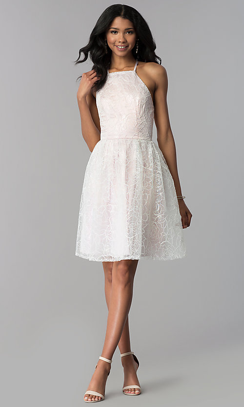 Image of organza embroidered short homecoming dress. Style: LP-27495 Detail Image 3