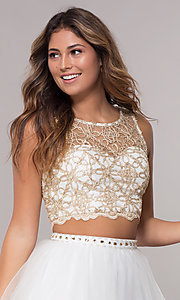Image of metallic two-piece homecoming dress by PromGirl. Style: LP-PL-97069 Detail Image 1
