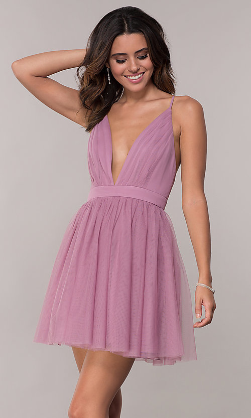 Image of deep-v-neck pleated bodice homecoming dress by PromGirl. Style: LP-PL-27763 Front Image