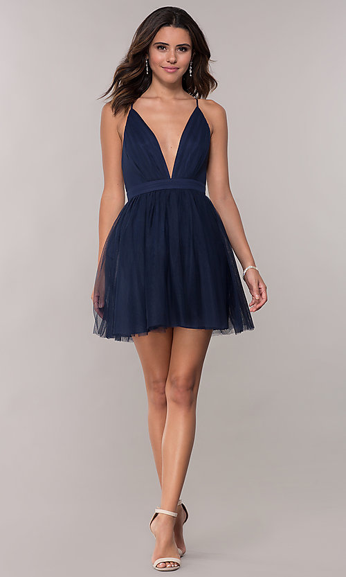 Image of deep-v-neck pleated bodice homecoming dress by PromGirl. Style: LP-PL-27763 Detail Image 3
