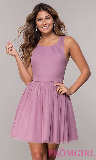 Short Pleated-Neckline Homecoming Dress by PromGirl