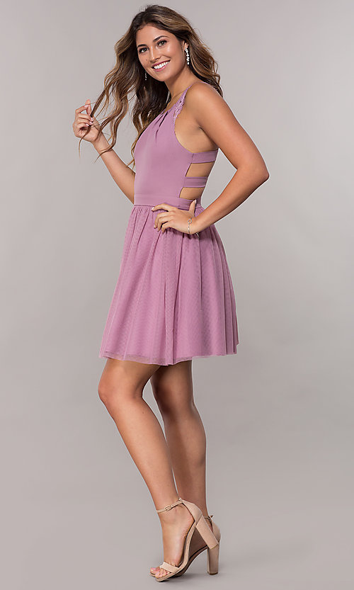 Image of short pleated-neckline homecoming dress by PromGirl. Style: LP-PL-27715 Detail Image 3