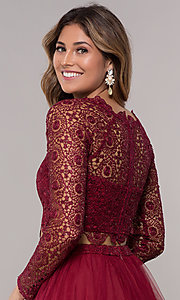 Image of homecoming two-piece long-sleeve dress by PromGirl. Style: LP-PL-97070 Detail Image 2