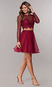 Image of homecoming two-piece long-sleeve dress by PromGirl. Style: LP-PL-97070 Detail Image 3