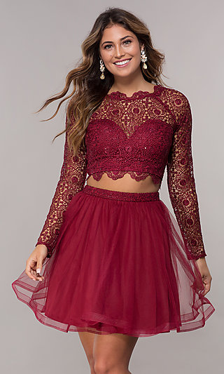 Two-Piece Long Sleeve Homecoming Dress by PromGirl